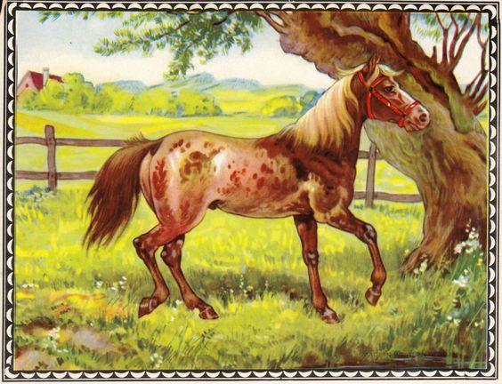 Antikes Glanzbild, Märchenbild, Pferd auf Weide, Nostalgie, Kinder-Deko, Bild