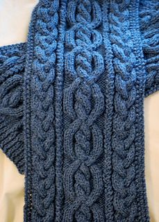 This is a scarf was designed for a friend who loves cables and seed stitch (and the color blue). The result combines a center twisted cable flanked by twisted stitches and braids with a seed stitch border. My original idea had the cables as multiples of 2 stitches, but I beefed them up to multiples of three after a test swatch was done. Now they really stand out. The cable patterns have been charted. The cables repeat every 16 rows and are fairly easy to memorize.