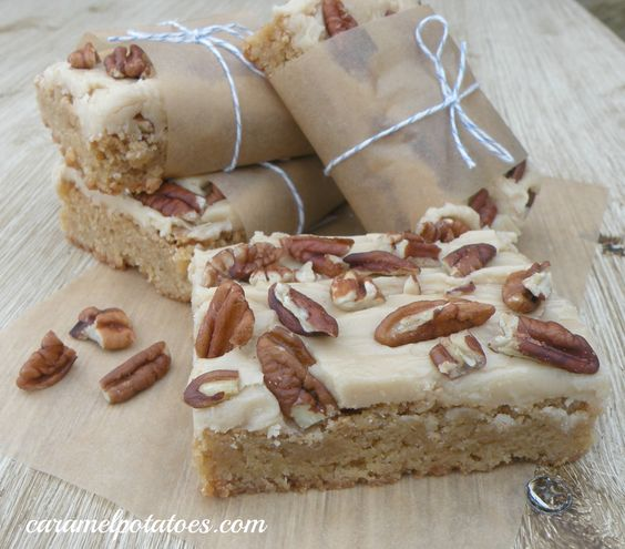 butterscotch Brownies with Brown Sugar Frosting and Pecans