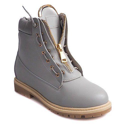 Traperki Na Suwak Ocieplone 2045 Szary Szare Winter Warmers Boots Trekking Shoes