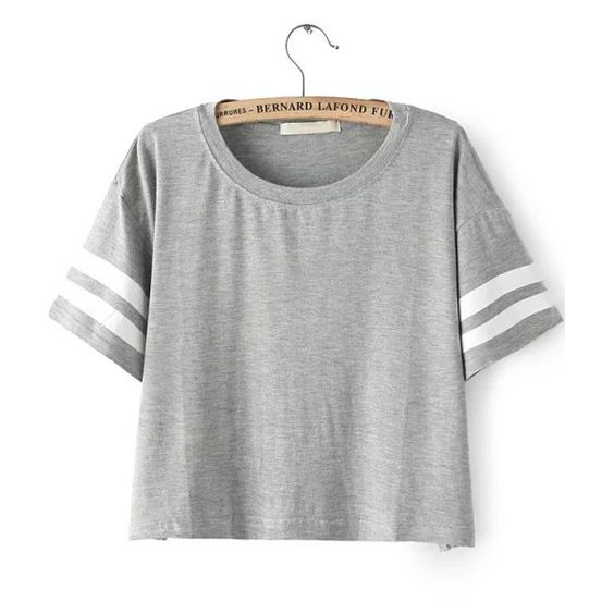 SheIn(sheinside) Grey Short Sleeve Striped Crop T-Shirt ($12) ❤ liked on Polyvore featuring tops, t-shirts, shirts, grey, striped tee, striped t shirt, striped shirt, t shirts and crop top