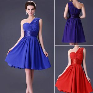 One-Shoulder-Formal-Party-Short-Chiffon-Bridesmaid-Evening-Gown-Cocktail-Dresses