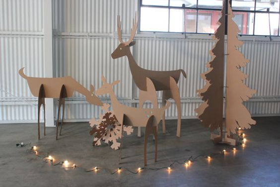 5ft tall Cardboard Christmas Deer Family - Free Shipping