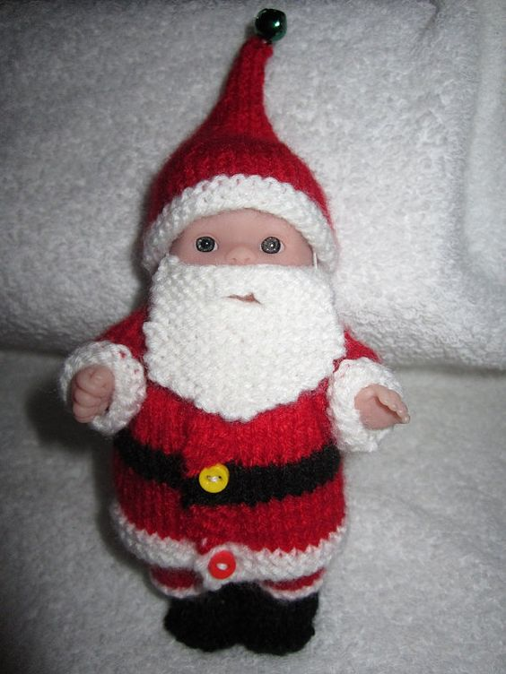 Knit Santa Claus Outfit For 5 Inch Itty Bitty Berenguer