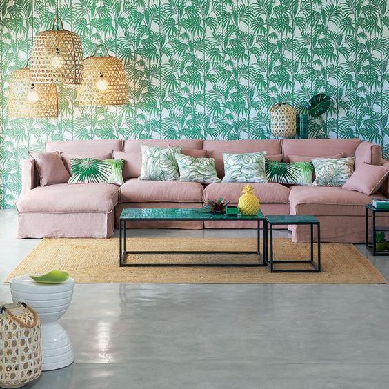 papier peint wall paper tropical canapé rose poudré déco ethnique ethnic la redoute: