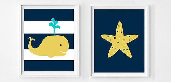 50 % RABATT. Marine gelb Kinderzimmer Dekor von OnlyPrintableArts