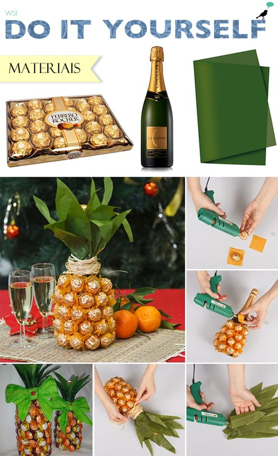 DIY: abacaxi de chocolate e champanhe; presente criativo; pineapple: