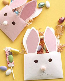 """One great way to say """"Happy Easter"""" is with paper-envelope rabbits -- bearing treats, of course."""
