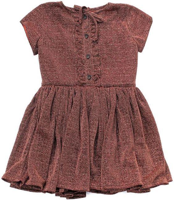 Morley - jurk glitter - Bijzonder mooie jurk in een roest glitter. Heel wijde, zwierige rok met losse voering in oranje katoen. Het bovesntukje met knoopjes en ruches is eveneens gevoerd. Blinde rits op de rug. Samenstelling: 58% nylon, 42% pc en voering 100% katoen.