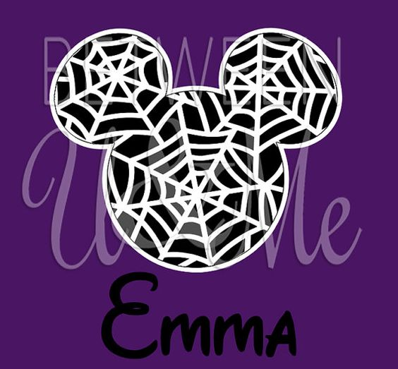 Personalized Mickey Mouse Spider Web Halloween Disney Iron On Decal