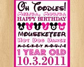 Minnie Mouse  Birthday Party Package Pink Custom Mickey Subway Art invitation labels. $17.00, via Etsy.