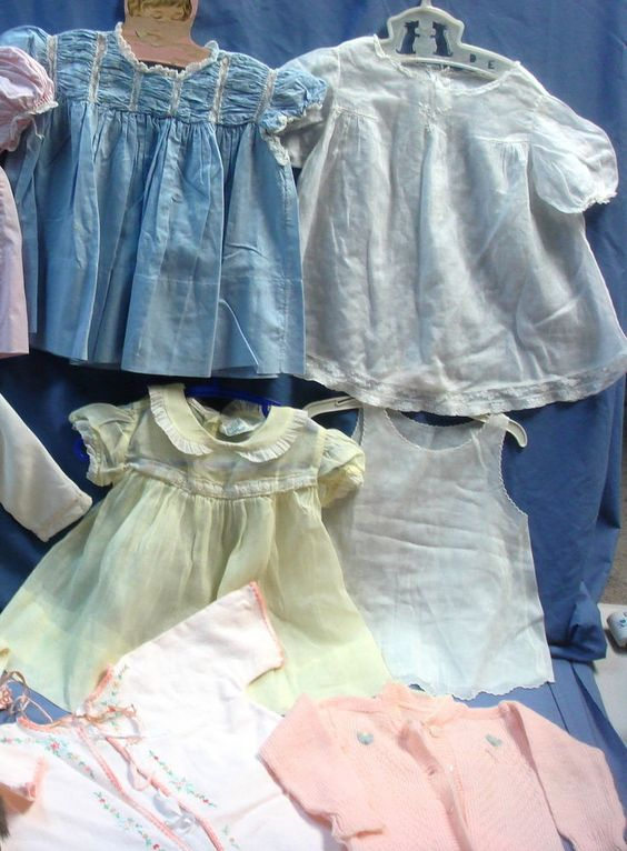 DV-9pc lot vtg baby girl dresses outfits-hand embroidered Yolande+Honeysuckle