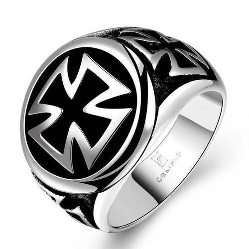 Anillo de acero inoxidable Celtic Iron Cross cruz cruz de plata negro Biker caballeros