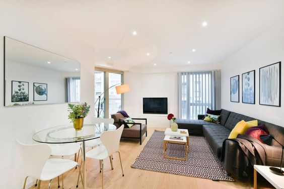 Living Area, Clapham South Serviced Apartment, London