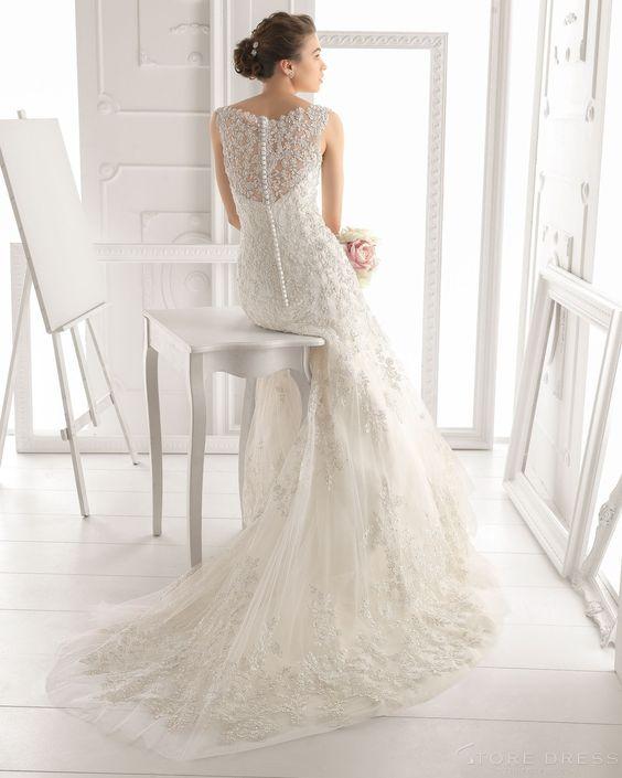 Retro Tumpet/Mermaid Deep V-neck Chapel Train Applique Button 2015 Wedding Dress