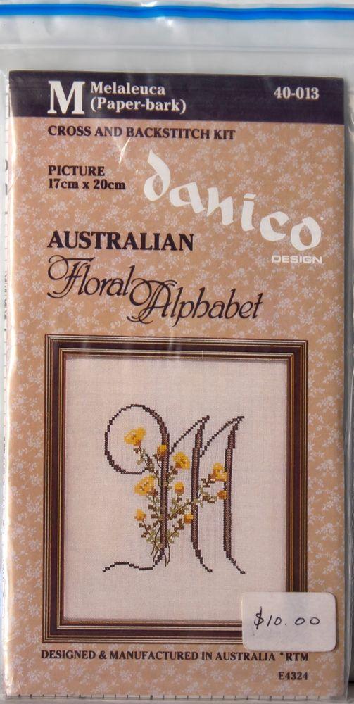 Danico Australian Floral Alphabet Cross & Backstitch Kit (17cm x 20cm) E4324 #Danico