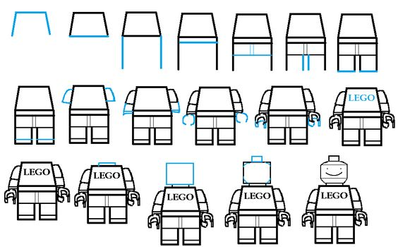 how to draw lego step by step