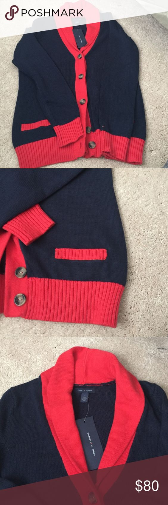 Shawl Cardigan Sweater Navy Blue and Red Cardigan Tommy Hilfiger Sweaters Cardigans