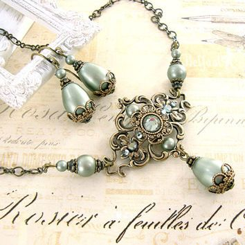 Sage Green Victorian Necklace - Anitque Brass Antique Style Teardrop Necklace - Swarovski Pearl Sage Pearl Necklace - Sage Victorian Jewelry