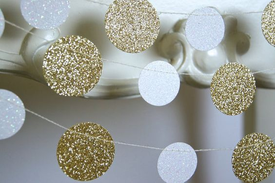 Glitter Paper Garland Gold and White Bridal by TheLittleThingsEV, $5.00