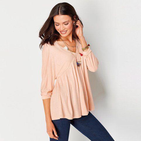 T-shirt manches longues femme - Saumon- Vue 1
