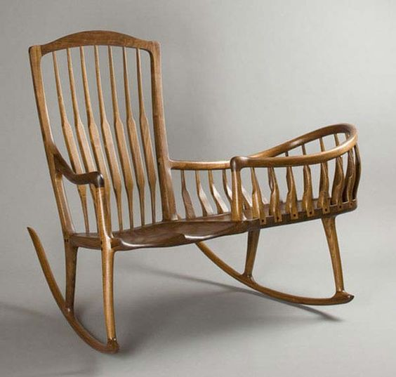 Wood Rocking Chair with Cradle   this is ideal. Baby or crafting works both ways