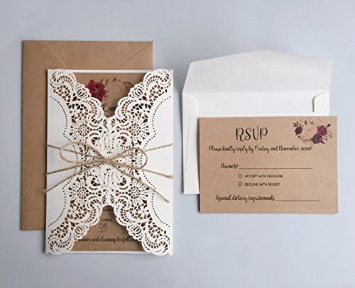 Picky Bride Rustic Wedding Invitations With Rsvp Cards Vi Https Www Amazon Com Ivory Wedding Invitations Buy Wedding Invitations Invitation Card Printing