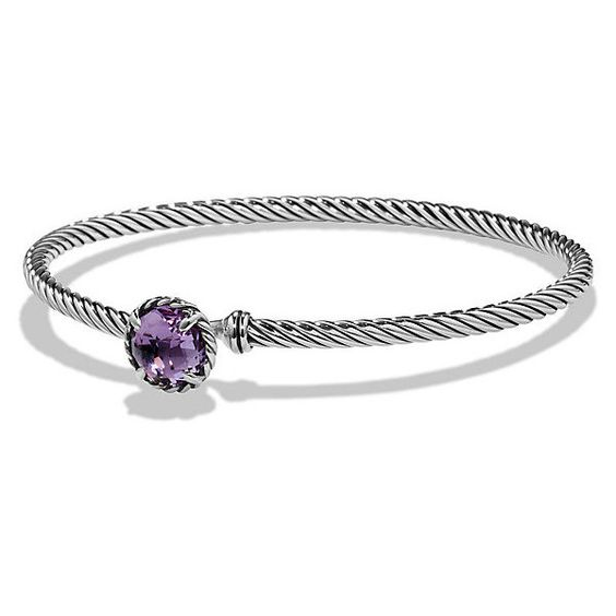 David Yurman Chatelaine Bracelet with Amethyst ($325) ❤ liked on Polyvore featuring jewelry, bracelets, amethyst bracelet, david yurman, amethyst jewelry, bracelet bangle y wide bracelet