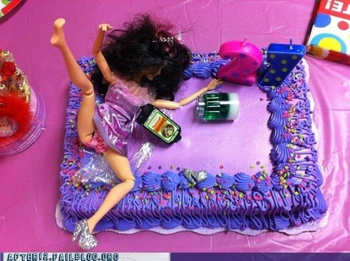 somebody make me this drunk barbie cake