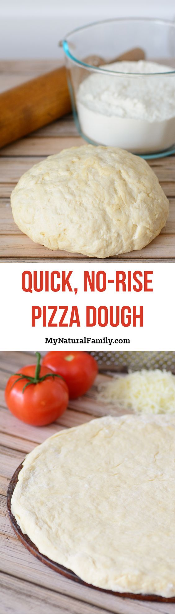 This pizza dough looks quick and simple and I love how it doesn't have to rise. I can even easily make it Clean Eating by subbing out equal parts spelt flour for the white flour.