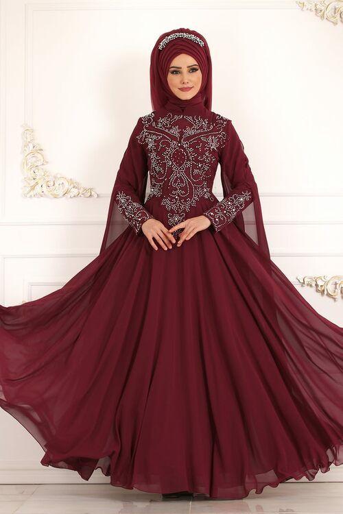 Modaselvim Abiye Kollari Sifon Pelerinli Abiye Ech7271 Bordo The Dress Elbiseler Aksam Elbiseleri