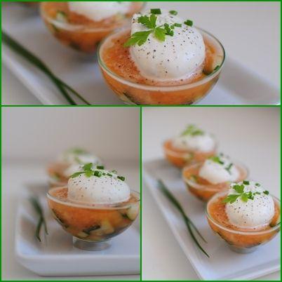 "Recipe in French for ""Melon, concombre et chantilly a la ..."