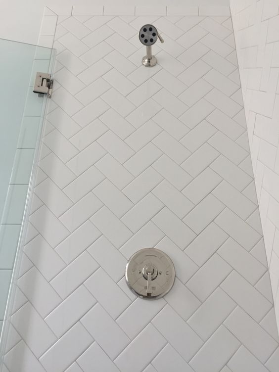 3x6 White Subway Tile Set In Herringbone Pattern Sterling