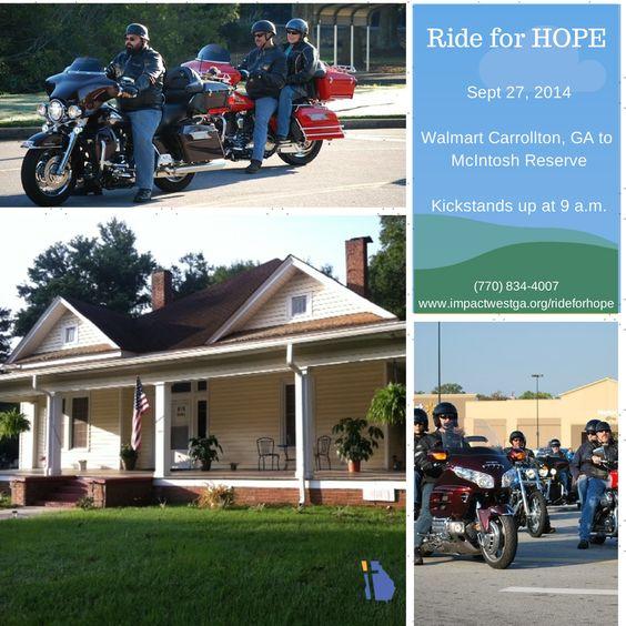 7th Annual Ride for HOPE, Sept 27, 2014 leisurely ride through scenic west GA www.impactwestga.org/rideforhope
