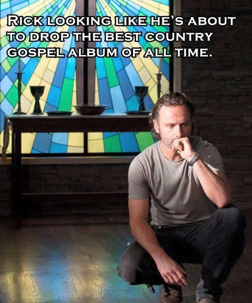 Rick looking like he's about to drop the best country gosel album of all time. HAHAHA :'D