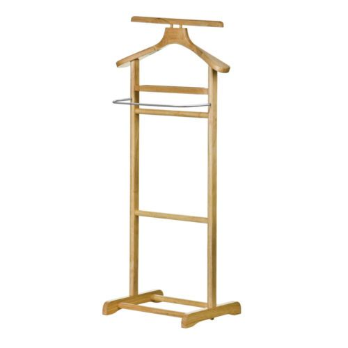 RUBBER WOOD WOODEN STEEL BAR CLOTHES HANGING STAND VALET RAIL RACK COAT HANGER | eBay