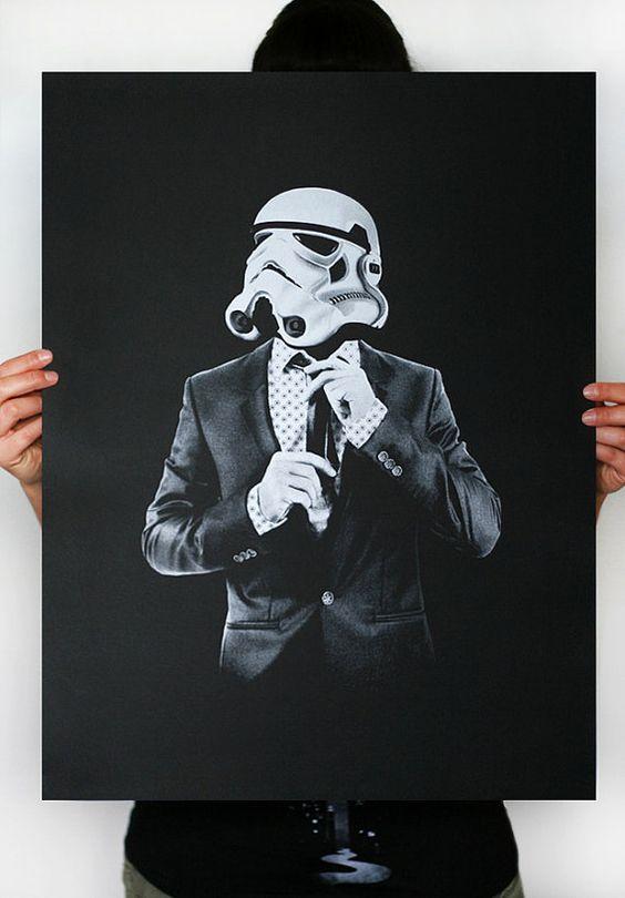 Smart trooper - Star Wars Art écran imprimé affiche (Storm trooper print, impression de Star Wars) sur Etsy, 12,12 €