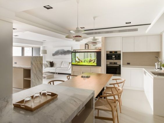 Stadt-Weiß und Schwarz-Modern Apartment Interior Design Helle