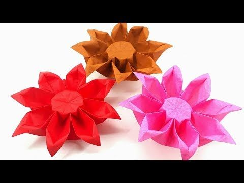Origami Tutorial How To Fold An Easy Origami Flower Gerbera Youtube Easy Origami Flower Origami Flowers Origami Tutorial