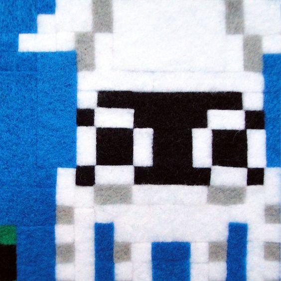 Super Mario Bros. Mario and Blooper 12 x 12 Felt Collage. $68.00, via Etsy.