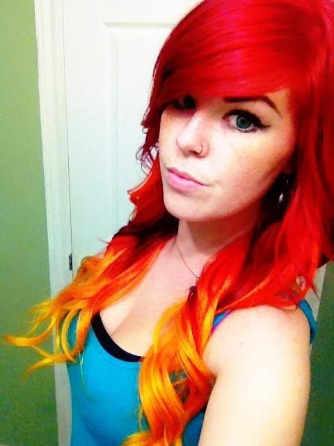 Fire hair! Ombre with bright red, bright orange, and