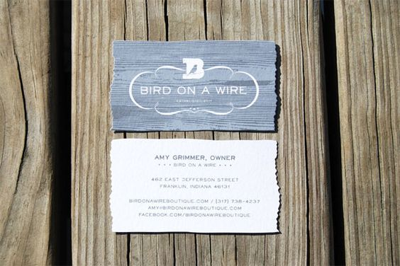 Identity Campaign: Bird on a Wire Boutique in Franklin, IN. Matches the re-purposed, recycled merchandise they sell from local artisans.
