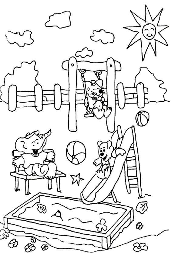 kleurplaat de speeltuin thema schoolreis