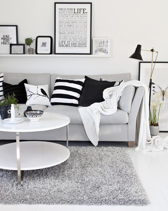 Clean modern living room. Black and white.: