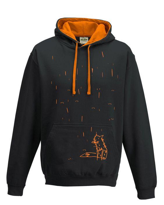 Hooded fox shirt, funky hoodie, black pullover, unisex hipster hoody, gift for him, boyfriend present