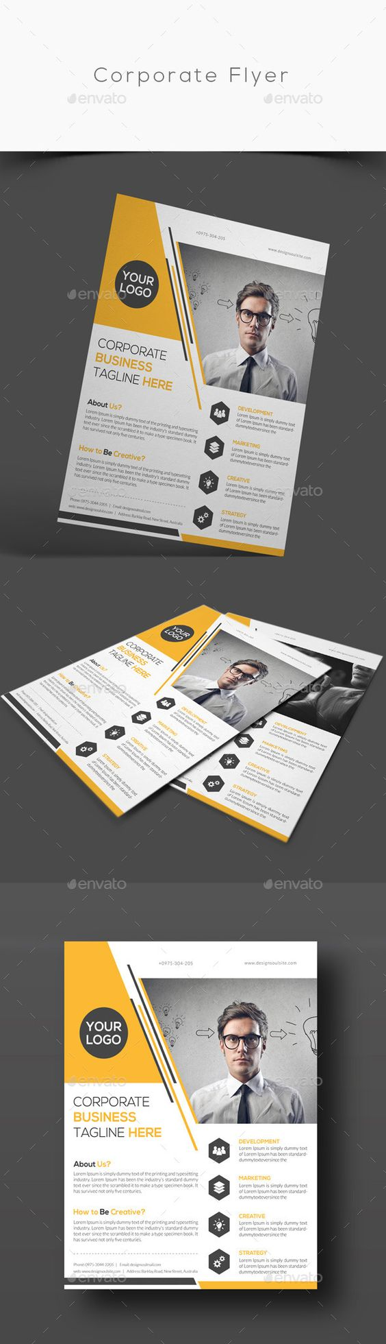 Corporate Flyer Template #design Download: http://graphicriver.net/item/corporate-flyer/12605010?ref=ksioks