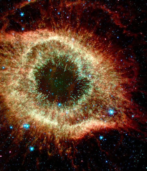Beautiful Infrared Astronomy from the Spitzer Space Telescope The Helix Nebula in infrared looks more like the delicate colours of an eye's iris than an astrophysical phenomena.