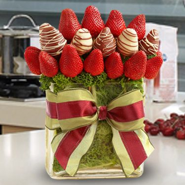 A Bouquet Of Love - Juicy strawberries and dipped strawberries in a modern vase are the perfect gift for everyone. You can create your own edible fruit arrangements. - www.VaaV.ca