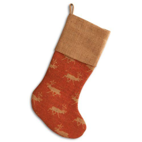 Find it at the Foundary - 16 in. Red Reindeer Burlap Stocking