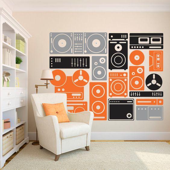 Wall Decal Custom Vinyl Art Stickers - Turn Up The Music Boombox, Speakers, and Music Equipment